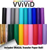 VViViD Deco65 30cm x 1.5m Multi-Colour Adhesive Craft Vinyl Bundle Including 30cm x 60cm ORACAL Transfer Paper Roll