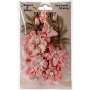 Shimmer & Shine Flowers 3.8cm - 5.1cm 11/Pkg-Blush Cluster