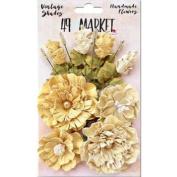 Vintage Shades Bouquet Assorted Sizes 14/Pkg-Yellow