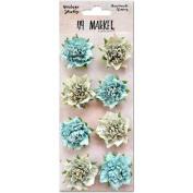 Vintage Shades Blossoms 3.2cm 8/Pkg-Blue