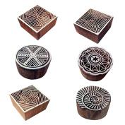 Stylish Designs Square and Round Wooden Printing Blocks