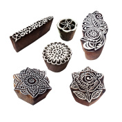 Fancy Motif Rose and Mandala Wood Stamps for Printing