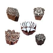 Elegant Designs Flower and Lotus Wooden Block Stamps