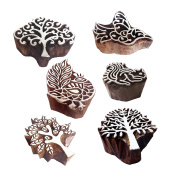 Rural Shapes Tree and Bird Wooden Stamps for Printing