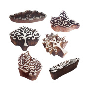 Beautiful Shapes Tree and Cloud Wood Block Print Stamps