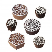 Arty Crafty Motif Floral and Round Wooden Printing Stamps