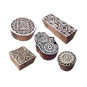 Stylish Shapes Mixed and Hamsa Wood Blocks for Printing