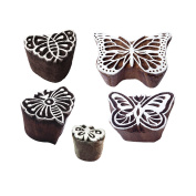 Trendy Motif Assorted and Butterfly Block Print Wood Stamps
