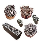 Decorative Motif Lotus and Rose Wood Stamps for Printing