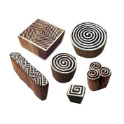Artistic Motif Spiral and Finger Wooden Stamps for Printing