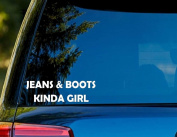 T1396 Jeans And Boots Kinda Girl Decal Sticker - 5.1cm x 10cm - Easy to Apply - Instructions Included - Premium 6+ Year Vinyl