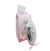 Medallon of Cot or Pram, with Angel and Child in bilaminada in Pink and Silver with Beautiful Gift Box.