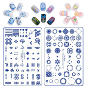 Nail Stamping Plates Kit CICI & SISI Layered Blue-and-White Series