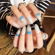 Spirit Blue Gradient False Nails Oval Round Acrylic Clear Glitter Lady Nail Tips 24pcs Nails /kit Z426