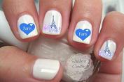 Blue Love Paris Eiffel Tower Nail Art Decals