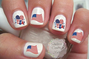 USA American Flag Heart Nail Art Decals United States