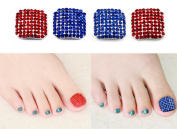 Wehous 2 Pairs Big Toe Nail Bling Bling Sticker Wraps 3D Nail Art Decoration Patch