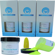Nail Dipping Powder Kit ~ 60ml Neon Yellow tp19 ~ dip powder nail kit for Fast, Easy dip nail powder starter kit at Home, No UV Light Needed ~ Won't Damage Natural Nails ~ Safe & Odourless