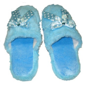 Fuzzy Xtra Soft Plush Cushion Indoor Outdoor Non Slip Sole Slippers BLUE