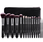 MSQ Makeup Brushes Set 15PCS Professional Cosmetic Brushes Soft Natural Goat Hair Synthetic Hair Kabuki Powder Brush With Luxury PU Leather Case Bag Best For Gift