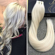 Ugeat Lightest Blonde Tape in Human Hair Extensions 46cm Silky Straight Real Brazilian Remy Human Hair 60# 50g