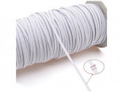 LifeDawn White 120-Yards Length 3MM Width Braided Elastic Cord/Elastic Band/Elastic Rope/Bungee Heavy Stretch Knit Elastic Spool With Free Tape Measure