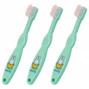 Miffy Official Baby & Toddler Manual Toothbrushes Age 0-3 Years THREE PACK Soft Bristles & Easy Grip First Brushes Miffy the Rabbit Design in Aquamarine Green
