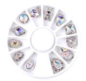 12Pcs DIY 3D Nail Care Rhinestone AB Nail, Jewellery Alloy Nail Art Decoration