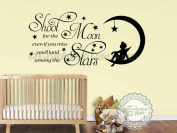 Graphics 'n' Tees - Shoot For The Moon Nursery Wall Sticker Quote Baby Boy Girl Bedroom Wall Decor Decal - In Black - Other Colours Available