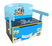 Bebe Style Children's Pirate Wooden Convertible Toy Box, 63 x 34 x 57 cm