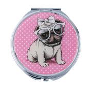 Fancy Metal Goods Pug Mirror Compact
