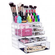 HBF Large Acrylic Make Up Organiser --Exquisite Cosmetic Lipstick Holder Nail Storage Jewellery Case