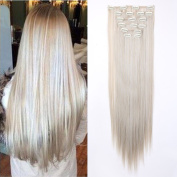 Fashion 26 Inches (65cm) Full Head 8 Pieces 18clips Clip in Hair Extensions Synthetic Extension Long Straight