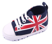 La Vogue Infant Baby Union Jack Lace-up Cotton Soft Prewalker Shoes