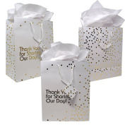 12 Gift Boutique Large Wedding Gift Bags; Metallic Gold Dots Wedding Gift Bags