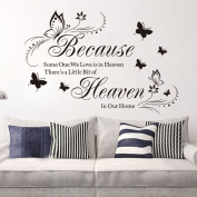 Zooarts Because Someone We Love is in Heaven Quote Vinyl Mural Wall Decal Sticker