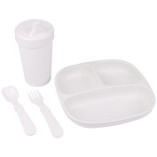 Re-Play Made in the USA Divided Plate, No Spill Sippy Cup, Utensil Set for Baby and Toddler - White
