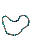 Malachite and Hazelwood Necklace by Umai. Colic, Acid Reflux and Teething. Individually knotted. For babies and toddlers.