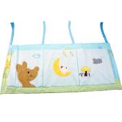 TDKIDO Nursery 100% Cotton Crib Organiser Nappy Stacker Hanging Storage 3 Pockets for Baby Room Decor