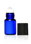 Grand Parfums 2ml, (5/8 Dram) Cobalt Blue Glass Micro Mini Roll-on Glass Bottles with Premium Glass Roller Balls - Refillable Aromatherapy Essential Oil Roll On