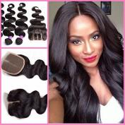 Hairaddictioncollection 7A unprocessed Brazilian Virgin Human Hair, 3 Bundles Mixed Size Length, Natural Colour Weave 12, 14, 16 +25cm Closure