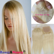 Rossy & Nancy Top Silk Base 10cm x 10cm Lace Closures Brazilian Virgin Human Hair Silk Straight Natural Blonde #613 Colour Free Part Closure Piece for Women