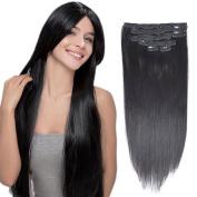 Full Head Clip In Human Hair Extension Brazilian Straight 7Pcs 20Clips