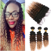 Tony Beauty Hair 1B/4/27 Honey Blonde Ombre 13x4 Full Lace Frontal Closure With Bundles 4Pcs Lot Deep Wave Three Tone Coloured Virgin Peruvian Hair Wefts With Frontal