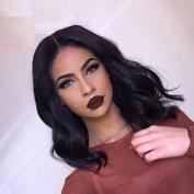 NiceToBuy 7A Glueless Short Bob Brazilian Virgin Human Hair Lace Front Wigs for Women Body Wave 150% High Density Medium Size Cap