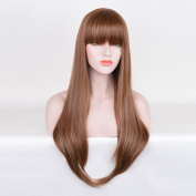 Deniya Long Straight Wig with Bangs Brown Cosplay Long Straight Wig for Women