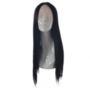MOOI 60cm Black Synthetic Lace Front Wig Long Natural Straight Replacement Hair Wigs Half Hand Tied Synthetic Fibre Hair