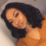 Narutal Black #1b Short Bob Deep Wave Lace Front Wig Synthetic Heat Resistant Fibre Hair For Women 30cm