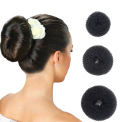 Hair Donut Bun Maker Ring Style Doughnut Shaper Chignon Former for Creating Updo Pack of 3 Pieces(1Large+1Middle+1Samll)Black