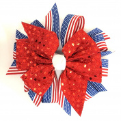 Patriotic 4th of July Flag Red Sequin Hair Bow, Made in the USA White Pony Band